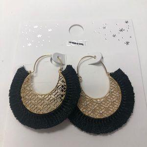Ann Taylor loft earrings gold and black nwt